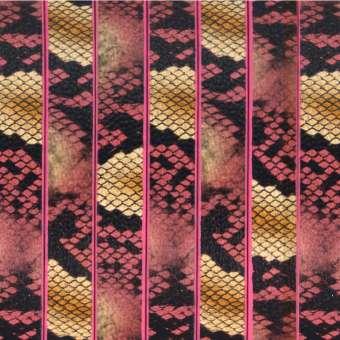Geprägtes Kunstlederband, 10X2mm, 55cm, natur-pinkfarben natur-pinkfarben