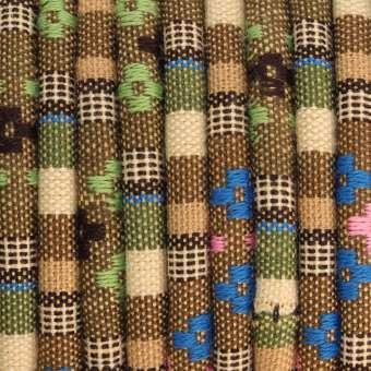 Gemustertes Schmuckband, 50cm, 6mm breit, mehrfarbig beige (mehrfarbig) - 6 mm rund