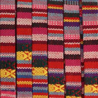 Gemustertes Schmuckband, 50cm, 10mm breit, mehrfarbig roas (mehrfarbig) - 10 mm flach