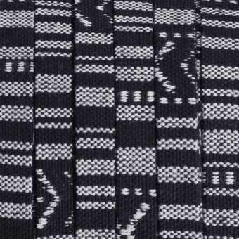 Gemustertes Schmuckband, 50cm, 10mm breit, schwarz-weiß schwarz-weiß - 10 mm flach
