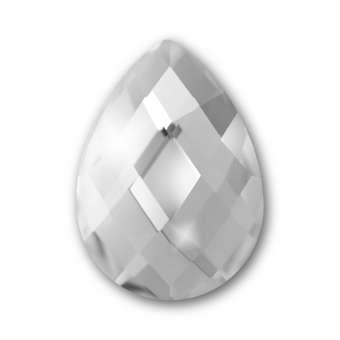 Cabochon, Ø 13X18 mm, Glas, Tropfen, crystal crystal