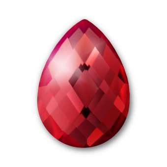 Cabochon, Ø 13X18 mm, Glas, Tropfen, rot rot