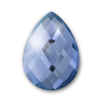 Cabochon, Ø 13X18 mm, Glas, Tropfen, blau blau