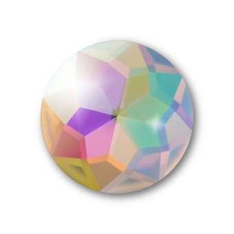 Cabochon, Ø 16 mm, Glas, rund, crystal AB crystal AB