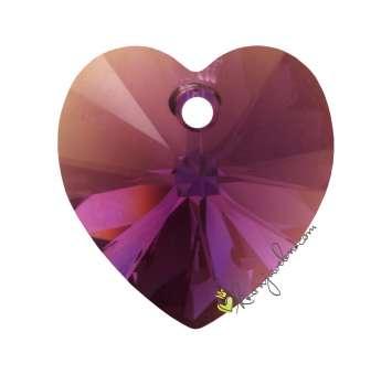 Swarovski XILION Heart Pendant (6228), 14,4 mm, Amethyst Aurore Boreale Aurore Boreale (204 AB) 204 AB Amethyst Aurore Boreale