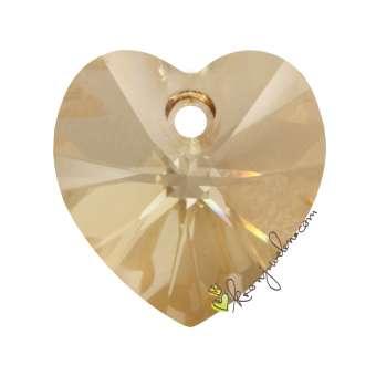 Swarovski XILION Heart Pendant (6228), 14,4 mm, Crystal Golden Shadow (001 GSHA) 001 GSHA Crystal Golden Shadow