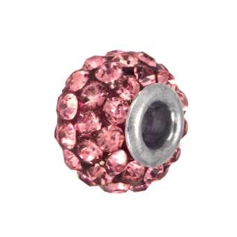 Strassperle, Glas, 10mm, rosa rosa