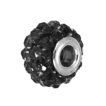 Strassperle, Glas, 10mm, schwarz schwarz