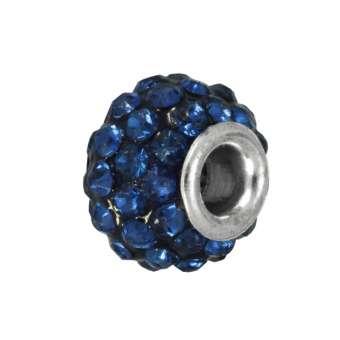 Strassperle, Glas, 10mm, blau-grau blau-grau