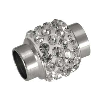 Magnetverschluss mit Strass, 17X12mm, Loch-Ø 7mm, Metall, crystal/ weiß
