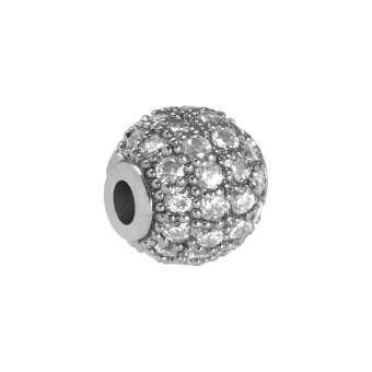 Kleine Juwelierperle, 6mm, rund, transparent/ silberfarben 6mm silberfarben