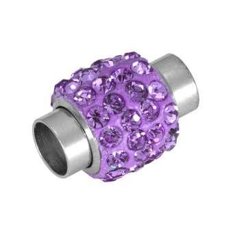 Magnetverschluss mit Strass, 14X11mm, Loch-Ø 5mm, Metall, helllila helllila