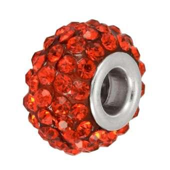 Großlochperle mit 90 Strass-Steinen, 15mm, rot rot