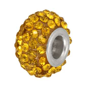 Großlochperle mit 90 Strass-Steinen, 15mm, gelb gelb
