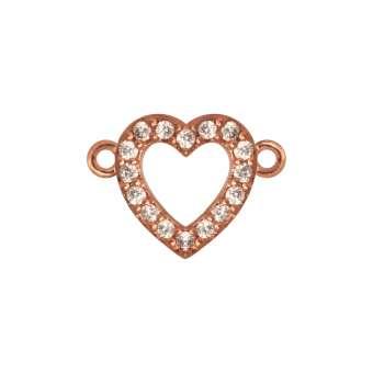 Juwelier-Herz, 10 mm, roségold-farben Herzkranz - roségold