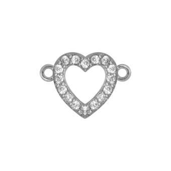 Juwelier-Herz, 10 mm, silber-farben Herzkranz - silberfarben