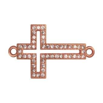 Juwelier-Kreuz, 17 mm, roségold-farben Kreuz - roségold