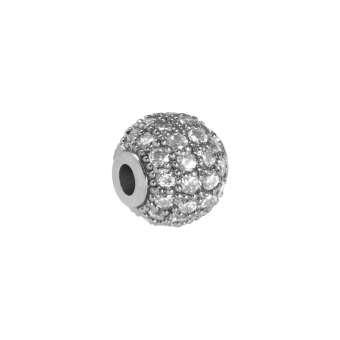 Juwelierperle, 6mm, rund, transparent/ silberfarben 6mm silberfarben