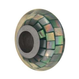Perlmutt Großloch-Perle, 14mm, safirtürkis safirtürkis