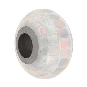 Perlmutt Großloch-Perle, 14mm, naturweiß naturweiß