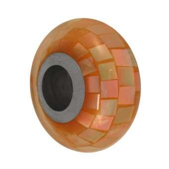 Perlmutt Großloch-Perle, 14mm, orange orange