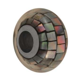 Perlmutt Grroßloch-Perle, 14mm, schwarz schwarz