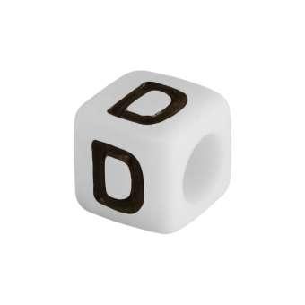 """Buchstabenperle """"D"""", weiss Buchstabenperle """"D"""""""