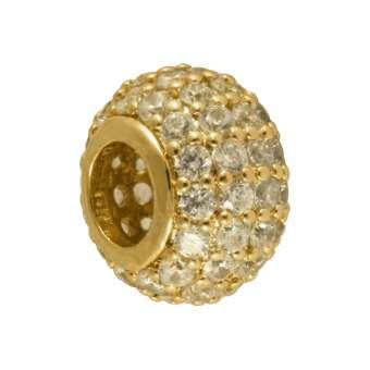 Juwelier Großloch-Perle, 10X6mm, transparent-goldfarben 10mm Großlochperle goldfarben