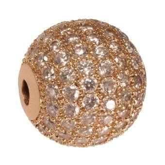 Juwelierperle, 12mm, rund, transparent/ roségoldfarben 12mm roségoldfarben
