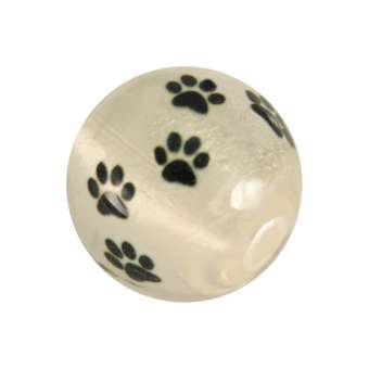 Perle mit Hundepfotendesign, 12mm, creme-weiß