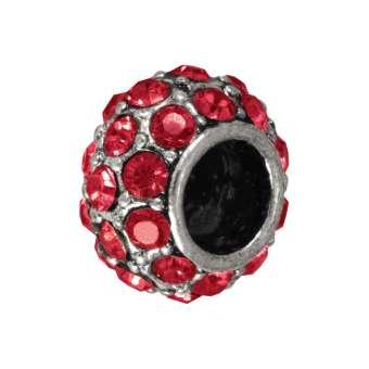 Großlochperle mit 32 Strass-Steinen, 12mm, rot / silberfarben rot / silberfarben