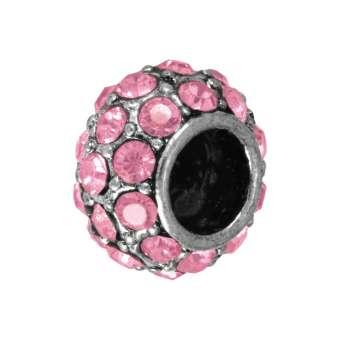 Großlochperle mit 32 Strass-Steinen, 12mm, rosa / silberfarben rosa / silberfarben