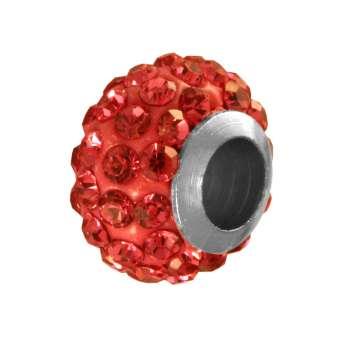Großlochperle mit ca. 70 Strass-Steinen, 11mm, rot rot
