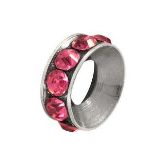 Spacer mit Strass, 10mm, rund, rosa (silberfarben) rosa (silberfarben)