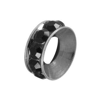 Spacer mit Strass, 10mm, rund, schwarz (silberfarben) schwarz (silberfarben)