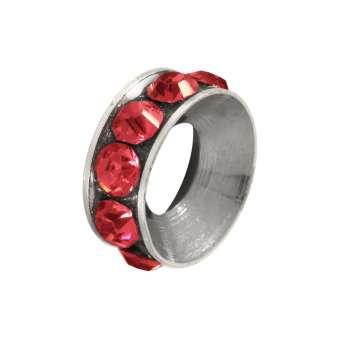 Spacer mit Strass, 10mm, rund, rot (silberfarben) rot (silberfarben)
