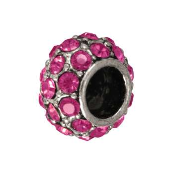 Großlochperle mit 32 Strass-Steinen, 12mm, pink / silberfarben pink / silberfarben