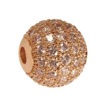 Juwelierperle, 10mm, rund, transparent/ roségoldfarben 10mm roségoldfarben