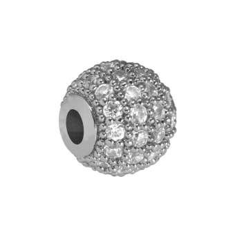 Juwelierperle, 8mm, rund, transparent/ silberfarben 8mm silberfarben
