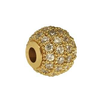 Juwelierperle, 8mm, rund, transparent/ goldfarben 8mm goldfarben