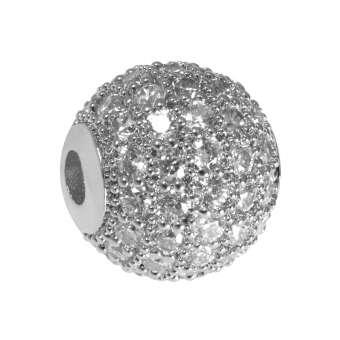 Juwelierperle, 10mm, rund, transparent/ silberfarben 10mm silberfarben