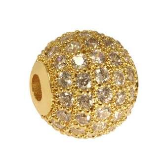 Juwelierperle, 10mm, rund, transparent/ goldfarben 10mm goldfarben