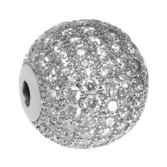 Juwelierperle, 12mm, rund, transparent/ silberfarben 12mm silberfarben