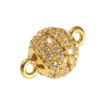 Juwelier Kugelverschluss mit Strass, 8mm, Metall, goldfarben 8mm goldfarben
