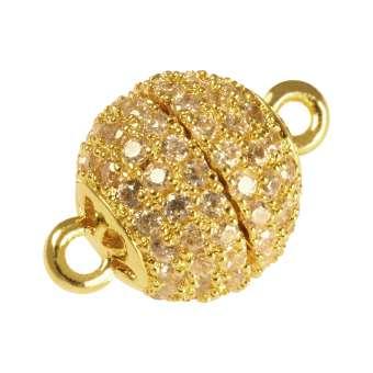 Juwelier-Kugelverschluss mit Strass, 10mm, Metall, goldfarben 10mm goldfarben
