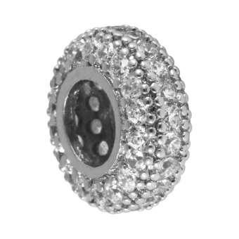 Juwelier-Großlochperle, 12X5mm, rund, transparent/ silberfarben 12mm Großlochperle silberfarben