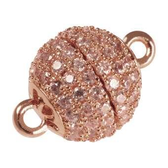 Juwelier Kugelverschluss mit Strass, 12 mm, Metall, roségoldfarben 12mm roségoldfarben