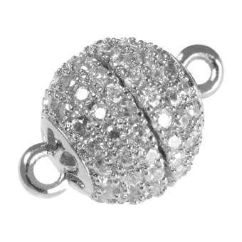 Juwelier Kugelverschluss mit Strass, 12 mm, Metall, silberfarben 12mm silberfarben