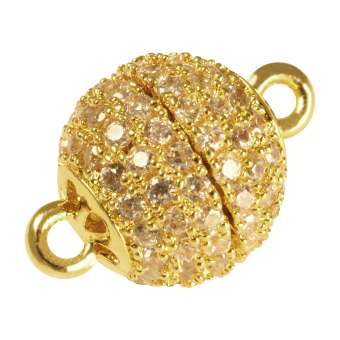 Juwelier Kugelverschluss mit Strass, 12 mm, Metall, goldfarben 12mm goldfarben