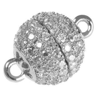 Juwelier Kugelverschluss mit Strass, 14 mm, Metall, silberfarben 14m silberfarben